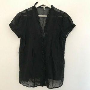 Joie Size Medium Black Button Up Blouse Women's